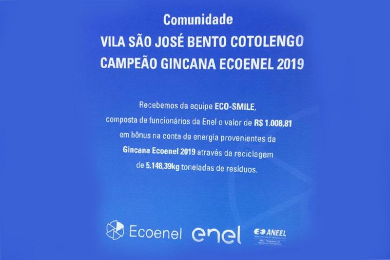 Vila São Cottolengo ganha bônus em gincana da Ecoenel